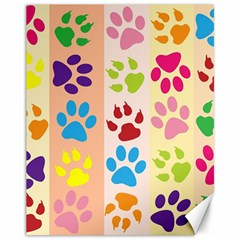 Colorful Animal Paw Prints Background Canvas 11  X 14