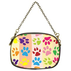 Colorful Animal Paw Prints Background Chain Purses (one Side)  by Simbadda