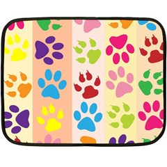 Colorful Animal Paw Prints Background Double Sided Fleece Blanket (mini)  by Simbadda