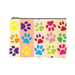 Colorful Animal Paw Prints Background Cosmetic Bag (large)  by Simbadda