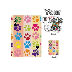 Colorful Animal Paw Prints Background Playing Cards 54 (mini)  by Simbadda