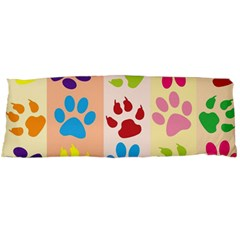 Colorful Animal Paw Prints Background Body Pillow Case Dakimakura (two Sides) by Simbadda