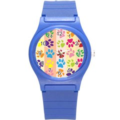 Colorful Animal Paw Prints Background Round Plastic Sport Watch (s) by Simbadda
