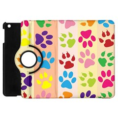 Colorful Animal Paw Prints Background Apple Ipad Mini Flip 360 Case by Simbadda