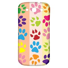 Colorful Animal Paw Prints Background Samsung Galaxy S3 S Iii Classic Hardshell Back Case by Simbadda