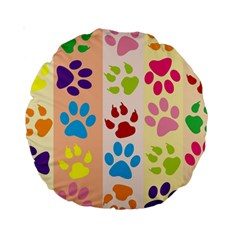 Colorful Animal Paw Prints Background Standard 15  Premium Round Cushions by Simbadda