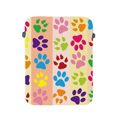 Colorful Animal Paw Prints Background Apple Ipad 2/3/4 Protective Soft Cases by Simbadda