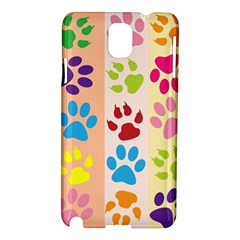 Colorful Animal Paw Prints Background Samsung Galaxy Note 3 N9005 Hardshell Case by Simbadda