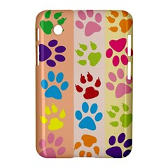 Colorful Animal Paw Prints Background Samsung Galaxy Tab 2 (7 ) P3100 Hardshell Case