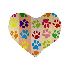 Colorful Animal Paw Prints Background Standard 16  Premium Flano Heart Shape Cushions by Simbadda