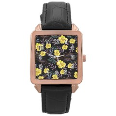 Wildflowers Ii Rose Gold Leather Watch