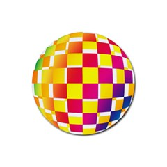 Squares Colored Background Rubber Round Coaster (4 Pack)