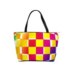 Squares Colored Background Shoulder Handbags by Simbadda