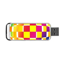 Squares Colored Background Portable Usb Flash (one Side) by Simbadda