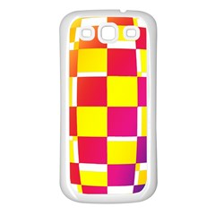 Squares Colored Background Samsung Galaxy S3 Back Case (white) by Simbadda