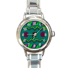 A Colorful Modern Illustration Round Italian Charm Watch by Simbadda