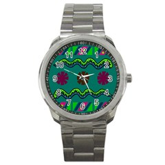 A Colorful Modern Illustration Sport Metal Watch by Simbadda