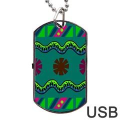 A Colorful Modern Illustration Dog Tag Usb Flash (two Sides) by Simbadda