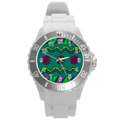 A Colorful Modern Illustration Round Plastic Sport Watch (l)