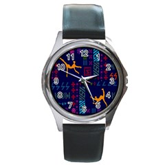 A Colorful Modern Illustration For Lovers Round Metal Watch by Simbadda