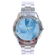 Abstract Blue Background Swirls Stainless Steel Analogue Watch by Simbadda