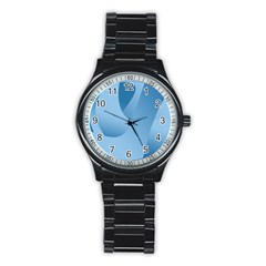 Abstract Blue Background Swirls Stainless Steel Round Watch by Simbadda