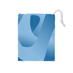 Abstract Blue Background Swirls Drawstring Pouches (medium)  by Simbadda
