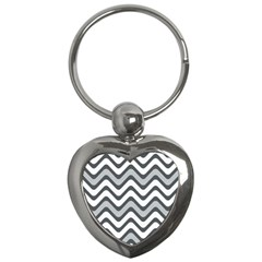 Shades Of Grey And White Wavy Lines Background Wallpaper Key Chains (heart)  by Simbadda