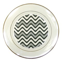 Shades Of Grey And White Wavy Lines Background Wallpaper Porcelain Plates