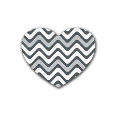 Shades Of Grey And White Wavy Lines Background Wallpaper Heart Coaster (4 Pack)  by Simbadda