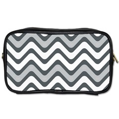 Shades Of Grey And White Wavy Lines Background Wallpaper Toiletries Bags by Simbadda