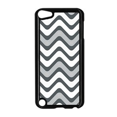Shades Of Grey And White Wavy Lines Background Wallpaper Apple Ipod Touch 5 Case (black) by Simbadda