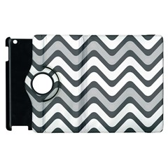 Shades Of Grey And White Wavy Lines Background Wallpaper Apple Ipad 3/4 Flip 360 Case by Simbadda