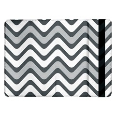 Shades Of Grey And White Wavy Lines Background Wallpaper Samsung Galaxy Tab Pro 12 2  Flip Case by Simbadda