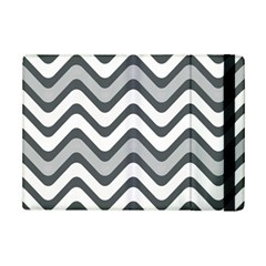 Shades Of Grey And White Wavy Lines Background Wallpaper Ipad Mini 2 Flip Cases