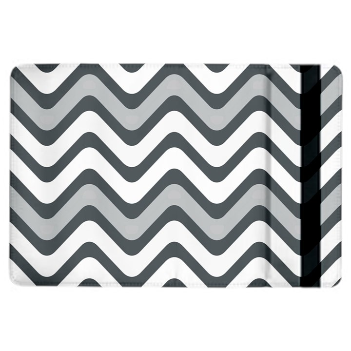 Shades Of Grey And White Wavy Lines Background Wallpaper iPad Air 2 Flip
