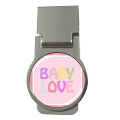 Pink Baby Love Text In Colorful Polka Dots Money Clips (round)  by Simbadda