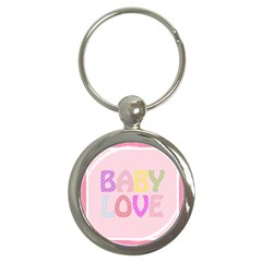 Pink Baby Love Text In Colorful Polka Dots Key Chains (round)  by Simbadda