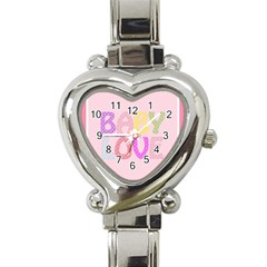 Pink Baby Love Text In Colorful Polka Dots Heart Italian Charm Watch by Simbadda
