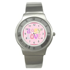 Pink Baby Love Text In Colorful Polka Dots Stainless Steel Watch by Simbadda