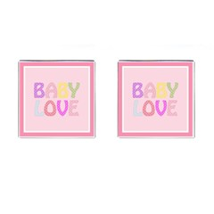 Pink Baby Love Text In Colorful Polka Dots Cufflinks (square) by Simbadda