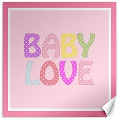 Pink Baby Love Text In Colorful Polka Dots Canvas 12  X 12
