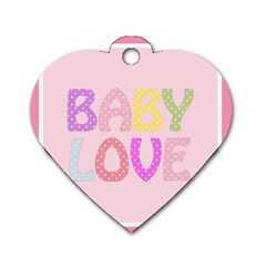 Pink Baby Love Text In Colorful Polka Dots Dog Tag Heart (one Side) by Simbadda