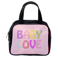Pink Baby Love Text In Colorful Polka Dots Classic Handbags (one Side) by Simbadda
