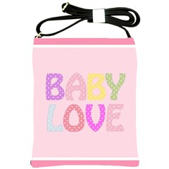 Pink Baby Love Text In Colorful Polka Dots Shoulder Sling Bags by Simbadda