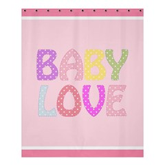 Pink Baby Love Text In Colorful Polka Dots Shower Curtain 60  X 72  (medium)  by Simbadda