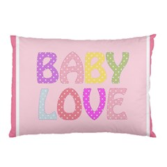 Pink Baby Love Text In Colorful Polka Dots Pillow Case (two Sides)