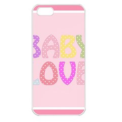 Pink Baby Love Text In Colorful Polka Dots Apple Iphone 5 Seamless Case (white) by Simbadda