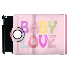 Pink Baby Love Text In Colorful Polka Dots Apple Ipad 3/4 Flip 360 Case by Simbadda