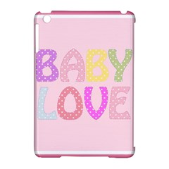 Pink Baby Love Text In Colorful Polka Dots Apple Ipad Mini Hardshell Case (compatible With Smart Cover) by Simbadda